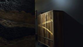 Σύγχρονη ξύλινη ντουλάπα δίπλα σε μια επιτροπή φιαγμένη εξ ολοκλήρου από ξύλο απόθεμα βίντεο