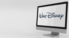Σύγχρονη οθόνη υπολογιστή με το λογότυπο Walt Disney Εκδοτική τρισδιάστατη απόδοση διανυσματική απεικόνιση