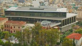 Σύγχρονη οικοδόμηση του νέου μουσείου ακρόπολη στην αρχαία πόλη της Αθήνας, τουρισμός απόθεμα βίντεο
