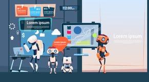 Σύγχρονη ομάδα επιχειρησιακών ρομπότ γραφείων που εργάζεται, έμβλημα ομάδας Cyborg επιχείρησης με το διάστημα αντιγράφων ελεύθερη απεικόνιση δικαιώματος