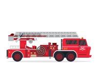 Σύγχρονη οριζόντια απομονωμένη απεικόνιση φορτηγών πυροσβεστών Στοκ Εικόνα
