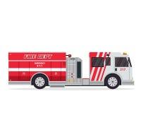 Σύγχρονη οριζόντια απομονωμένη απεικόνιση φορτηγών πυροσβεστών Στοκ Φωτογραφία