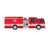 Σύγχρονη οριζόντια απομονωμένη απεικόνιση φορτηγών πυροσβεστών Στοκ Εικόνες