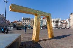 Σύγχρονη πηγή στο τετράγωνο Δημοκρατίας, Plzen Στοκ φωτογραφία με δικαίωμα ελεύθερης χρήσης