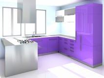 σύγχρονη πορφύρα κουζινών στοκ εικόνες