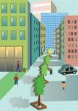 Σύγχρονη πόλη, εμπορικό κέντρο μιας μεγάλης πόλης διανυσματική απεικόνιση