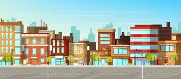 Σύγχρονη πόλη, επίπεδο διανυσματικό υπόβαθρο οδών κωμοπόλεων στοκ εικόνες με δικαίωμα ελεύθερης χρήσης