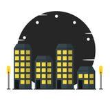 Σύγχρονη πόλη, οδός κωμοπόλεων, κτήρια, νύχτα ελεύθερη απεικόνιση δικαιώματος