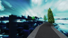 Σύγχρονη πόλη πέρα από τον ουρανό μεταξύ των σύννεφων στη νεφελώδη ημέρα με την αστραπή με τις θαμπάδες ελεύθερη απεικόνιση δικαιώματος
