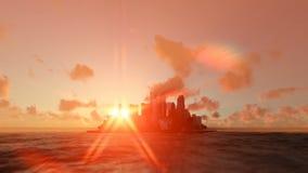 Σύγχρονη πόλη στον ωκεανό με τον ήλιο πίσω, υδρονέφωση πρωινού ανατολής απεικόνιση αποθεμάτων