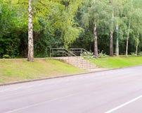 Σύγχρονη σκάλα στο πάρκο Υπόβαθρο, φύση Στοκ εικόνα με δικαίωμα ελεύθερης χρήσης