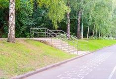 Σύγχρονη σκάλα στο πάρκο Υπόβαθρο, φύση Στοκ Φωτογραφίες