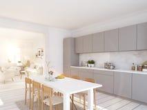 Σύγχρονη σκανδιναβική κουζίνα στο διαμέρισμα σοφιτών τρισδιάστατη απόδοση ελεύθερη απεικόνιση δικαιώματος