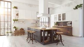 Σύγχρονη σκανδιναβική κουζίνα στο διαμέρισμα σοφιτών τρισδιάστατη απόδοση