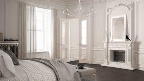 Σύγχρονη Σκανδιναβική κρεβατοκάμαρα στο κλασικό εκλεκτής ποιότητας καθιστικό με στοκ φωτογραφία