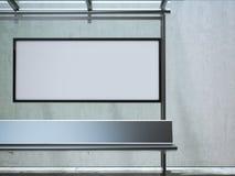Σύγχρονη στάση λεωφορείου με τον άσπρο πίνακα διαφημίσεων τρισδιάστατη απόδοση Στοκ Φωτογραφίες