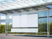 Σύγχρονη στάση λεωφορείου με το horisontal κενό πίνακα διαφημίσεων τρισδιάστατη απόδοση Στοκ Εικόνες