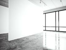 Σύγχρονη στοά έκθεσης φωτογραφιών, ανοιχτός χώρος Κενή άσπρη κενή σύγχρονη βιομηχανική θέση καμβά Απλά εσωτερική σοφίτα διανυσματική απεικόνιση