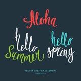 Σύγχρονη συρμένη χέρι λέξη Aloha εγγραφής, γειά σου καλοκαίρι και άνοιξη Στοκ φωτογραφίες με δικαίωμα ελεύθερης χρήσης
