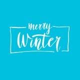 Σύγχρονη συρμένη χέρι φράση εγγραφής εύθυμος χειμώνας Βούρτσα και μελάνι καλλιγραφίας απεικόνιση αποθεμάτων