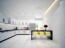 Σύγχρονη σύγχρονη άσπρη κουζίνα Στοκ εικόνα με δικαίωμα ελεύθερης χρήσης