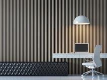 Σύγχρονη σύγχρονη εσωτερική τρισδιάστατη δίνοντας εικόνα δωματίων εργασίας ελεύθερη απεικόνιση δικαιώματος