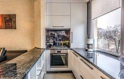 Σύγχρονη σύγχρονη μαύρη χρωματισμένη κουζίνα στοκ εικόνες
