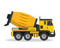 Σύγχρονη τσιμέντου αναμικτών απεικόνιση οχημάτων κατασκευής φορτηγών επίπεδη απεικόνιση αποθεμάτων