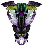 Σύγχρονη τυπωμένη ύλη με τις πεταλούδες, το νερό, τα κρύσταλλα, τα φτερά ζωύφιων και πουλιών ελεύθερη απεικόνιση δικαιώματος