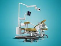 Σύγχρονη χρυσή οδοντική καρέκλα με το βόρακα με το φωτισμό και το όργανο ελέγχου FO απεικόνιση αποθεμάτων