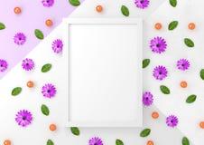 Σύγχρονη Floral χλεύη επάνω στο πλαίσιο Στοκ Εικόνες