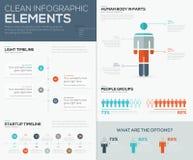 Σύγχρονη infographic απεικόνιση στοιχείων με τους ανθρώπους και τις υποδείξεις ως προς το χρόνο Στοκ Εικόνες
