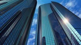 Σύγχρονοι αντανακλαστικοί ουρανοξύστες γραφείων διανυσματική απεικόνιση