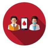 Σύγχρονοι επίπεδοι άνθρωποι και γιατρός που συνδέουν με κινητό Στοκ εικόνες με δικαίωμα ελεύθερης χρήσης