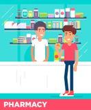 Σύγχρονοι επίπεδοι χαρακτήρες δύο νεαρών άνδρων στο κατάστημα φαρμακείων Στοκ φωτογραφία με δικαίωμα ελεύθερης χρήσης