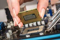 Σύγχρονοι επεξεργαστής και μητρική κάρτα στοκ εικόνα