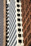Σύγχρονοι ουρανοξύστες στη γεωμετρική κάθετη γραμμή στο meto μεγαλουπόλεων Στοκ Εικόνες