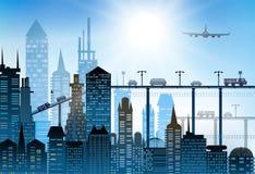 Σύγχρονοι ουρανοξύστες στο μεγάλο υπόβαθρο πόλεων φιαγμένο από πολλές σκιαγραφίες οικοδόμησης Στοκ εικόνες με δικαίωμα ελεύθερης χρήσης