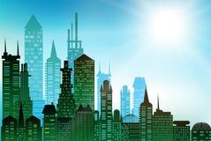 Σύγχρονοι ουρανοξύστες στο μεγάλο υπόβαθρο πόλεων φιαγμένο από πολλές σκιαγραφίες οικοδόμησης Στοκ Εικόνες
