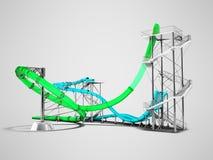 Σύγχρονοι πράσινοι μπλε γύροι ρόλερ κόστερ νερού για ένα πάρκο FO νερού απεικόνιση αποθεμάτων