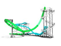 Σύγχρονοι πράσινοι μπλε γύροι ρόλερ κόστερ νερού για ένα πάρκο FO νερού ελεύθερη απεικόνιση δικαιώματος
