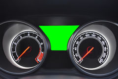 Σύγχρονος αυτοκινητικός έλεγχος ταμπλό αυτοκινήτων και πράσινη οθόνη με το CL Στοκ Εικόνα