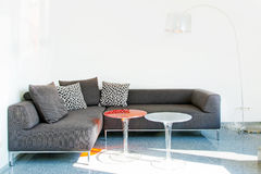 Σύγχρονος γκρίζος καναπές Στοκ εικόνα με δικαίωμα ελεύθερης χρήσης