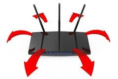 Σύγχρονος δρομολογητής WiFi με τα καμμένος κόκκινα βέλη σημάτων τρισδιάστατη απόδοση Στοκ εικόνες με δικαίωμα ελεύθερης χρήσης