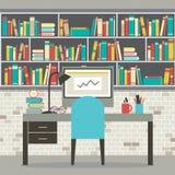 Σύγχρονος επίπεδος εργασιακός χώρος σχεδίου με τη βιβλιοθήκη Στοκ Φωτογραφία