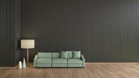 Σύγχρονος εσωτερικός μαύρος τοίχος πατωμάτων καθιστικών ξύλινος με το πράσινο πρότυπο καναπέδων για την πλαστή επάνω τρισδιάστατη ελεύθερη απεικόνιση δικαιώματος
