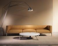 Σύγχρονος ελάχιστος καναπές δέρματος καπνών με την κουβέρτα Στοκ εικόνα με δικαίωμα ελεύθερης χρήσης