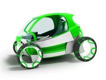 Σύγχρονος ηλεκτρικός dvuesny πράσινος αυτοκινήτων mobiles hatchback για τα ταξίδια διανυσματική απεικόνιση