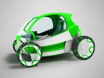 Σύγχρονος ηλεκτρικός dvuesny πράσινος αυτοκινήτων mobiles hatchback για τα ταξίδια απεικόνιση αποθεμάτων