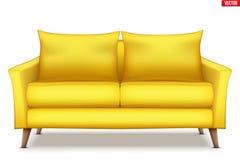 Σύγχρονος κίτρινος μαλακός καναπές απεικόνιση αποθεμάτων